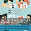 """FORO """"Participación Ciudadana, Auditoría Social y Derechos Económicos, Sociales, Culturales y Ambientales"""""""